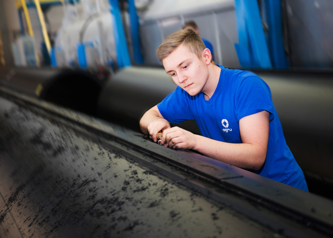 AGRU apprenticeship HDPE pipes for the ocean cleanup