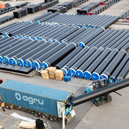 AGRU can deliver shorter pipe lengths via truck, train, or bulk shipment